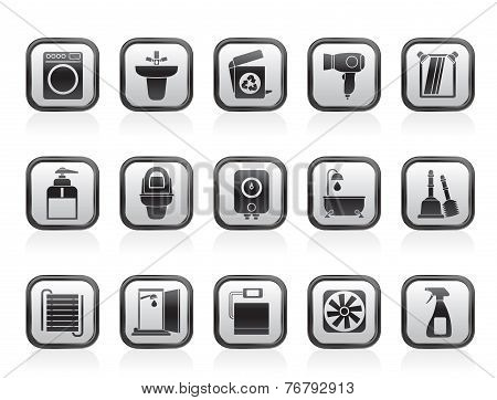 Bathroom and toilet objects and icons