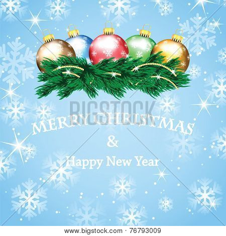 New Year And Christmas Design With Christmas Tree And Christmas Decorations