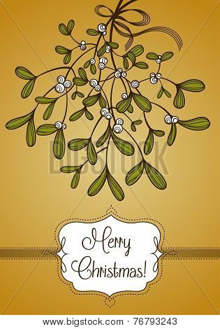 Gold Christmas card with branch of mistletoe