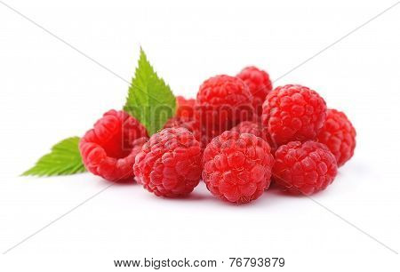 Sweet Raspberry With Leaves