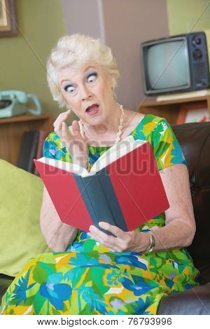 Astonished Woman Reading Book