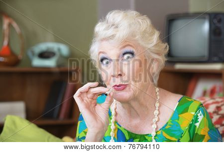 Lady Smoking Pot
