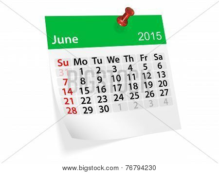 Monthly Calendar For Year 2015. June