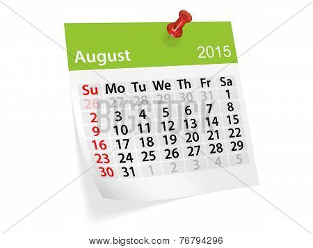 Monthly Calendar For Year 2015. August