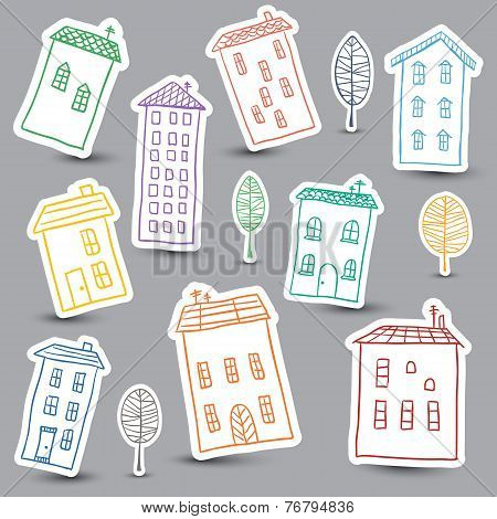 Houses Doodles On White Background