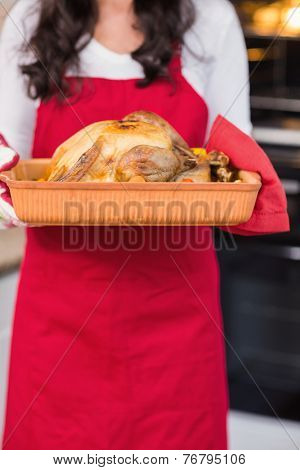 Mid section of woman holding roast turkey at home in the living room