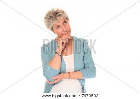 Thoughtful Senior Older Woman