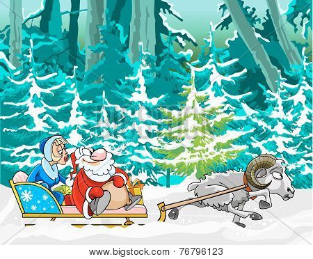 Cartoon Sheep Driven In A Sleigh Of Santa Claus And Snow Maiden In The Winter Woods.