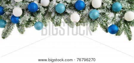 Fir Branches Decorated With Cool Colors