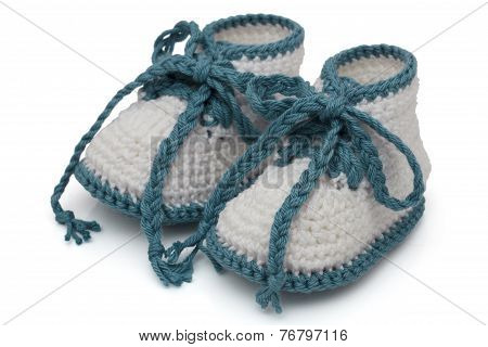 Turquoise And White Hand-made Baby Booties