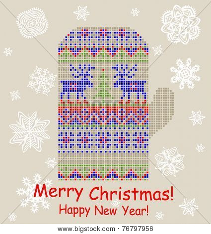 Christmas greeting card with mitten and paper snowflakes