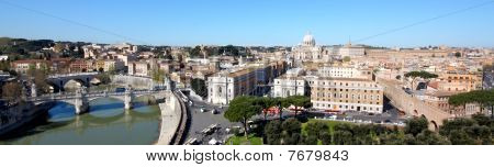Aerial And Panoramic View Of Rome Italy