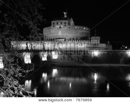 Castel Santangelo By Night Rome Italy