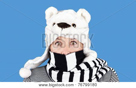 Woman With Funny Bear Hat