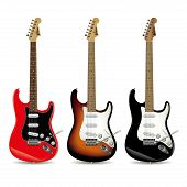 picture of guitar  - Set of electric guitars in front of white background - JPG