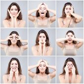 picture of acupressure  - Beautiful young caucasian woman doing face yoga - JPG