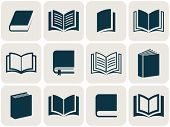 stock photo of squares  - Retro vector book icons collection in squares - JPG