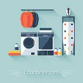 foto of dirty-laundry  - Laundry room with washing machine and dryer - JPG