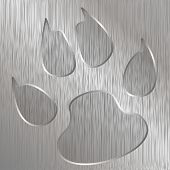 pic of cat dog  - Illustration of cat paw on a metal plate engraved - JPG