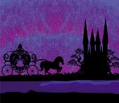 picture of carriage horse  - Silhouette of a horse carriage and a medieval castle at night  - JPG
