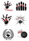 pic of bowling ball  - Bowling sports emblems and symbols with ball - JPG