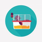 picture of gerbil  - Pet Mouse Cage Flat Icon With Long Shadow - JPG