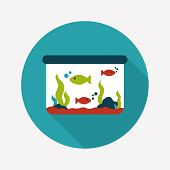 pic of long-fish  - Pet Fish Flat Icon With Long Shadow - JPG