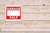 image of yard sale  - Garage Sale Sign on Natural Wood Wall - JPG