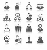 picture of employee  - Executive employee people management leadership and teamwork black icons set isolated vector illustration - JPG