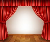 pic of stage decoration  - Theater stage with wooden floor red velvet open retro style curtain isolated on white background vector illustration - JPG