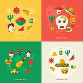 picture of mexican fiesta  - Mexico travel symbols flat icon set with mexican cuisine national holidays traditional music culture isolated vector illustration - JPG