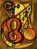 foto of musical instrument string  - Painting of musical instruments in a warm earth tone painting - JPG
