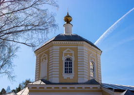 stock photo of epiphany  - Church of the Epiphany of the Lord in the village Perhovo - JPG