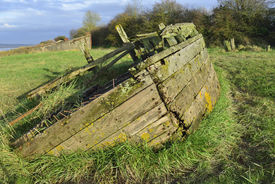 pic of collier  - Remains of the Severn Collier built in Stourport 1937 and beached at Purton in 1965 to help prevent the River Severn erroding into the Gloucester Sharpness Canal - JPG