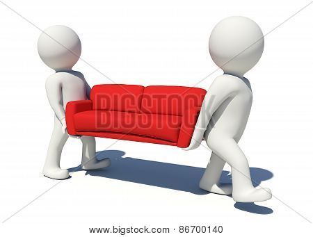 Two worker carrying red couch. Isolated