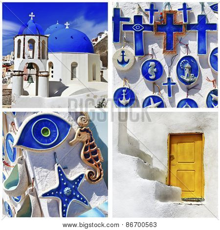 blue Santorini - beautiful traditional details of Cyclades