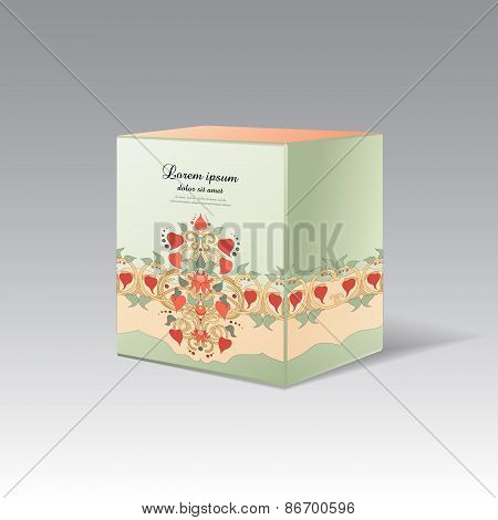 Gift Cubic Box With Floral Ornament
