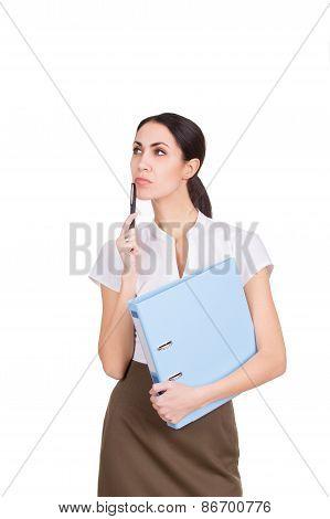 Beautiful Business Woman Thinking