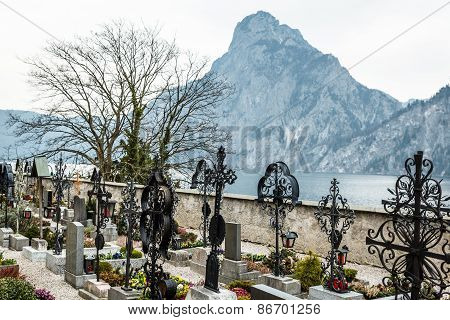 Mountain Traunstein with Graveyard