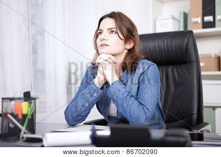 Businesswoman Striving For A Solution To A Problem