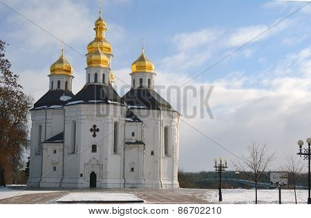 St. Catherine Church In Winter Chernihiv Park, Ukraine