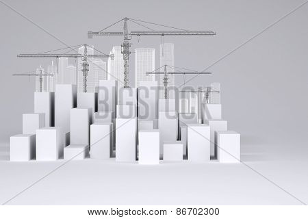 Minimalistic city of white cubes with wire-frame buildings and tower cranes