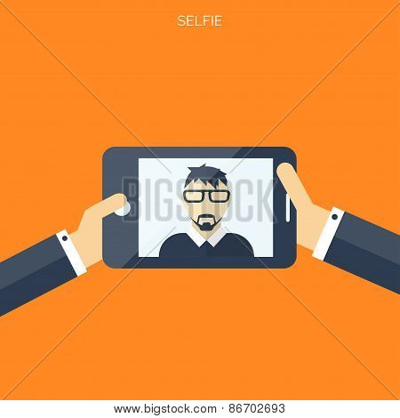 Flat selfie background. Social media and communication concept.