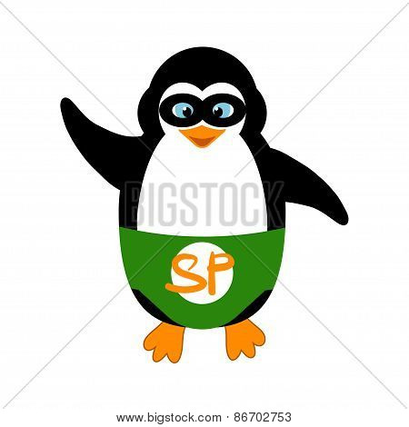 Penguin Super Hero In Mask