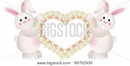 Bunny couple holding embroidered heart