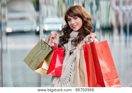Portrait of beautiful young woman shopping