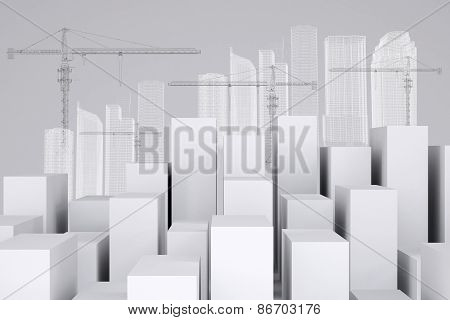 Many white cubes with wire-frame buildings and tower cranes