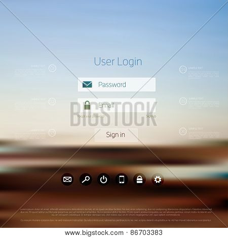Login form page. with blurred background. Web site template, ui element.