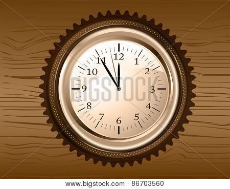 Vector analog clock on a brown wooden background