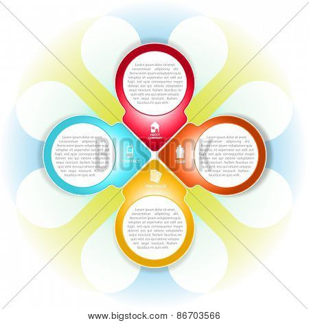Vector colored cross background with informations about the company